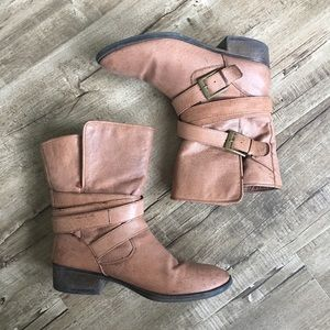 Steve Madden Tan Leather Belted Boots